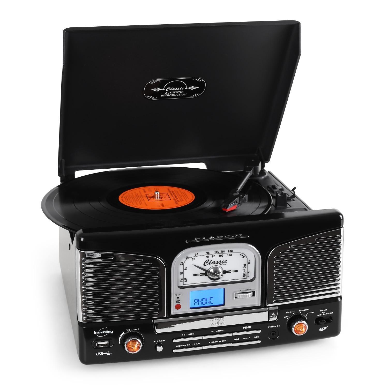 Inovalley Retro03 Cadena estéreo con tocadiscos negro ...