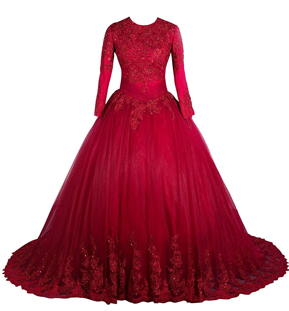Lowime Women's Elegant Tulle Ball Gown Wedding Dress Beads Long Sleeves Bridal Gowns