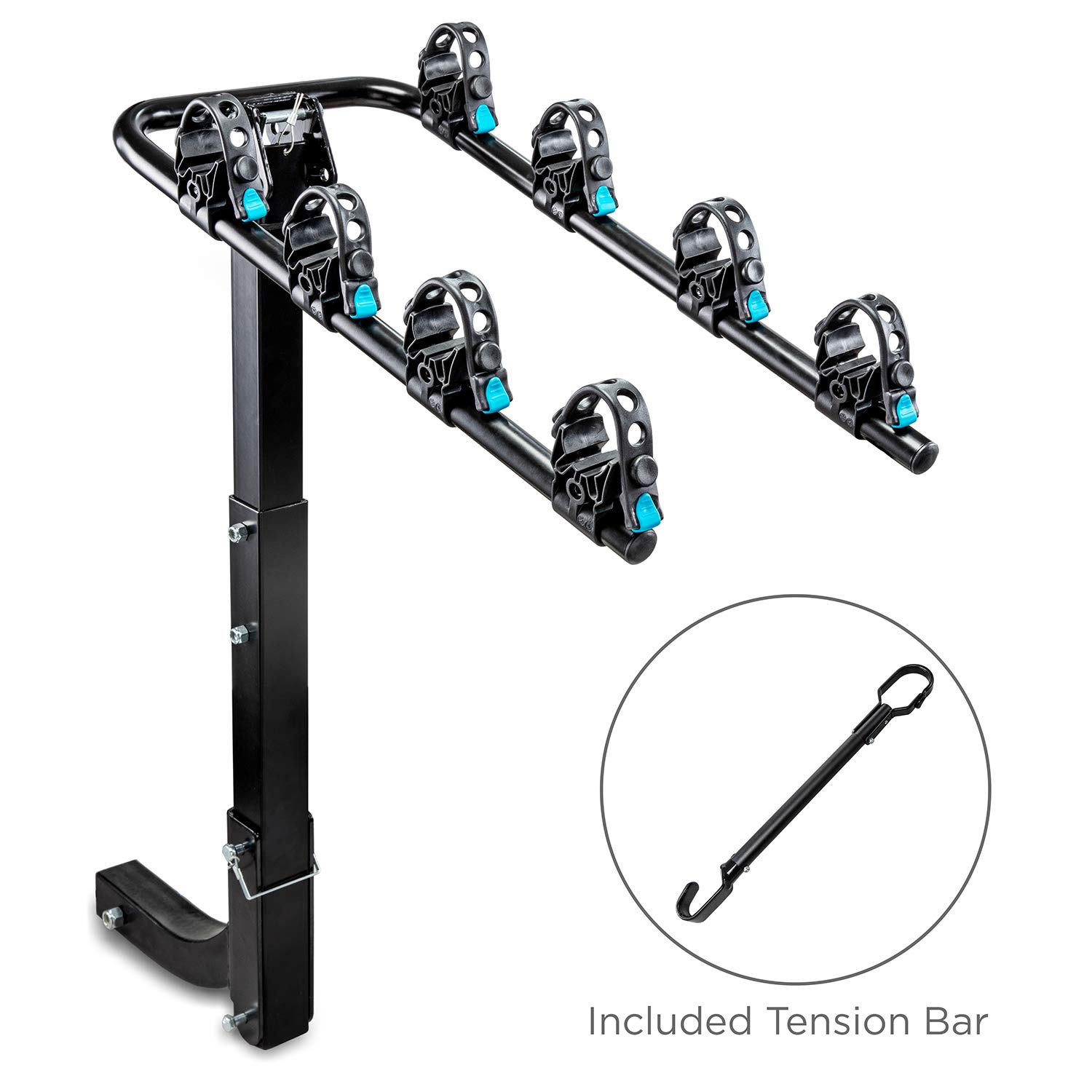 "RaxGo Hitch Mounted 4 - Bike Rack Carrier, Sturdy Bicycle Rack with Tension Bar Included – Fits 2"" Receiver – Foldable Design for Extra Convenience – Durable Powder-Coated Steel – Easy Assembly"
