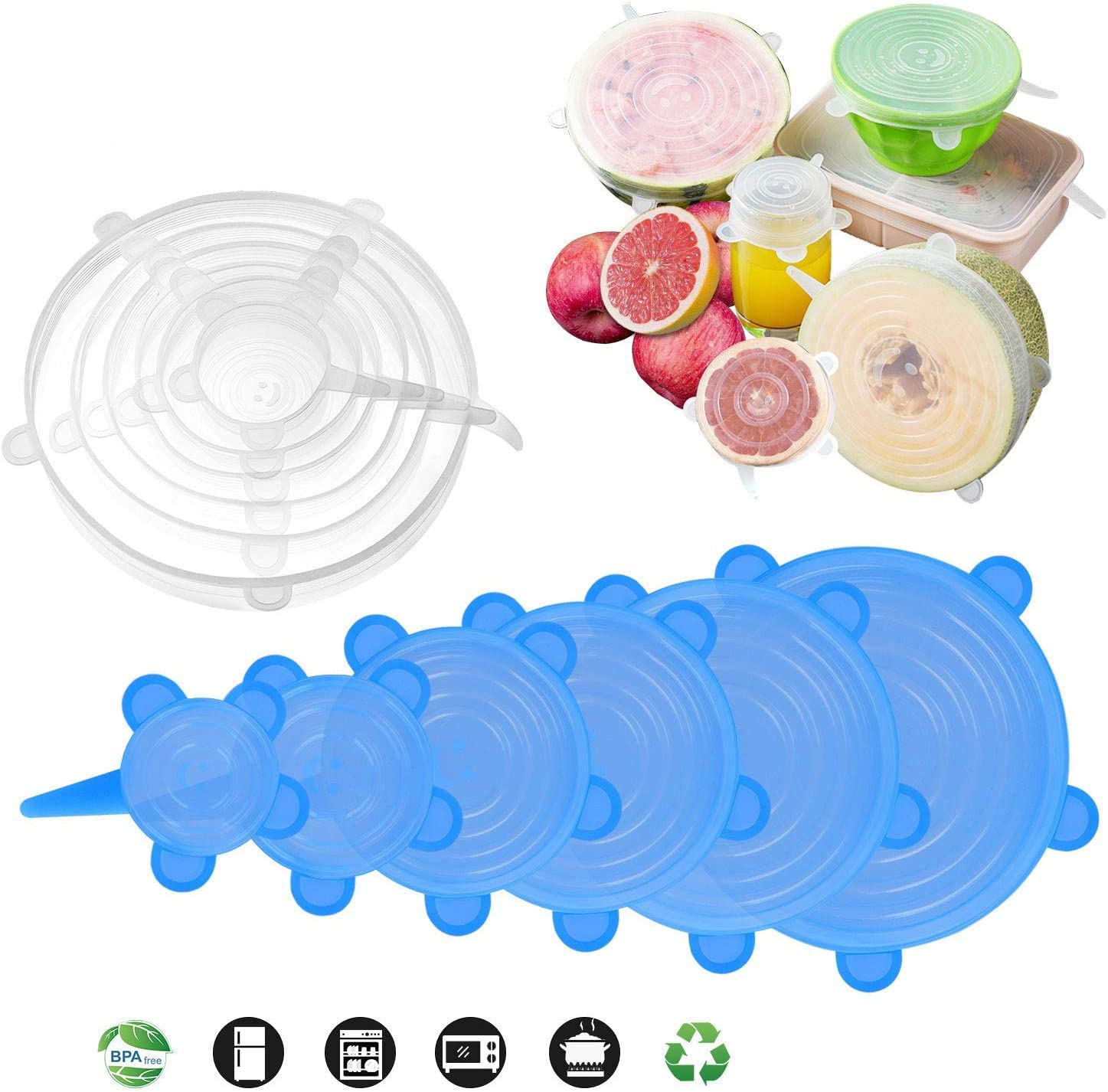 Silicone Stretch Lids, [12 Pack] Reusable Lids Fit Various Sizes & Shapes of Containers, Durable & Expandable Food Covers to Keep Food Fresh, Silicone Bowl Covers, Microwave, Oven & Dishwasher Safe