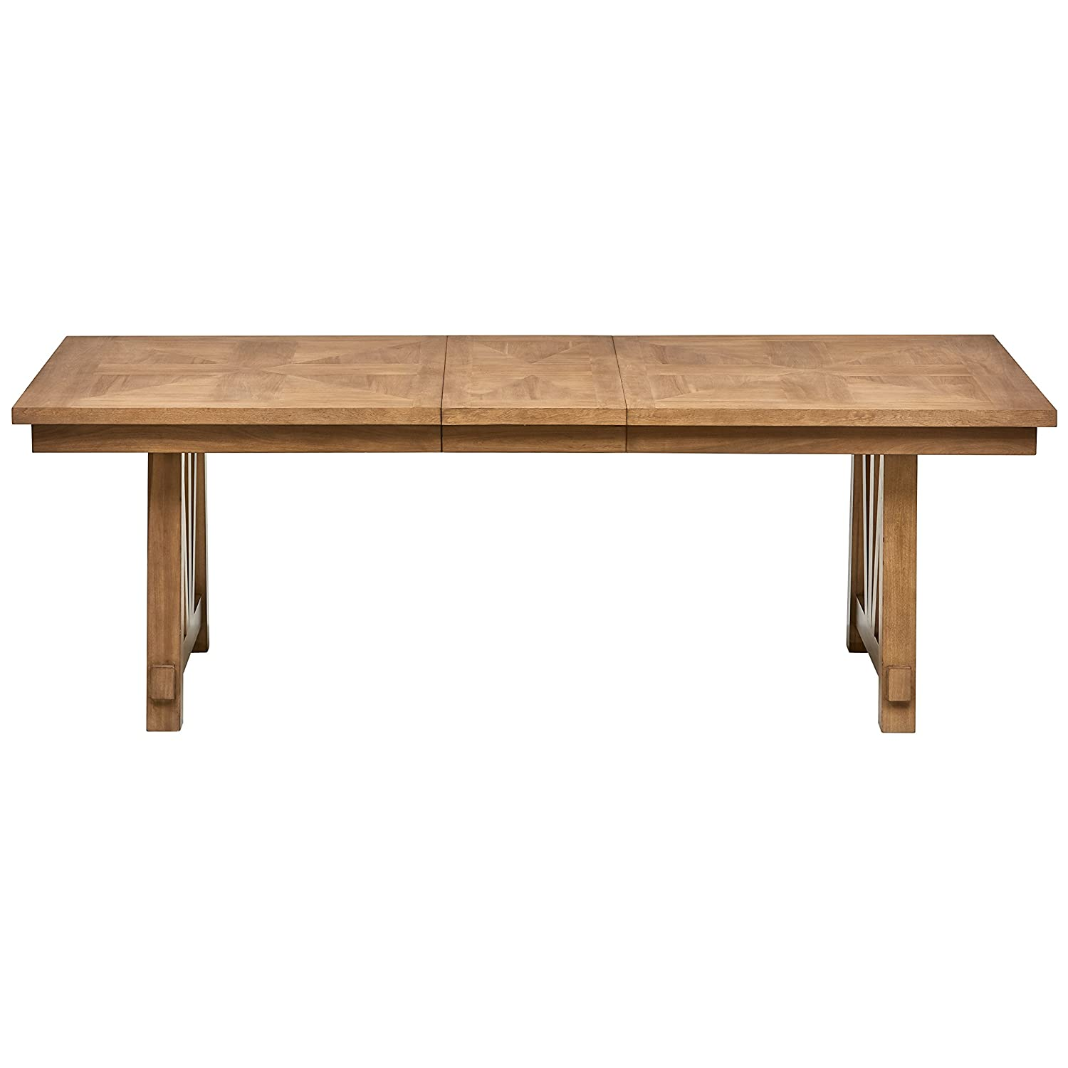 Stone Beam Jon Casual Farmhouse Expandable Wood Dining Table, 90 W, Birch