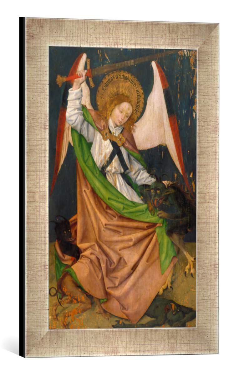Gerahmtes Bild von Hans Pleydenwurff Hofer Altar. Erzengel Michael tötet den Drachen, Kunstdruck im hochwertigen handgefertigten Bilder-Rahmen, 30x40 cm, Silber Raya