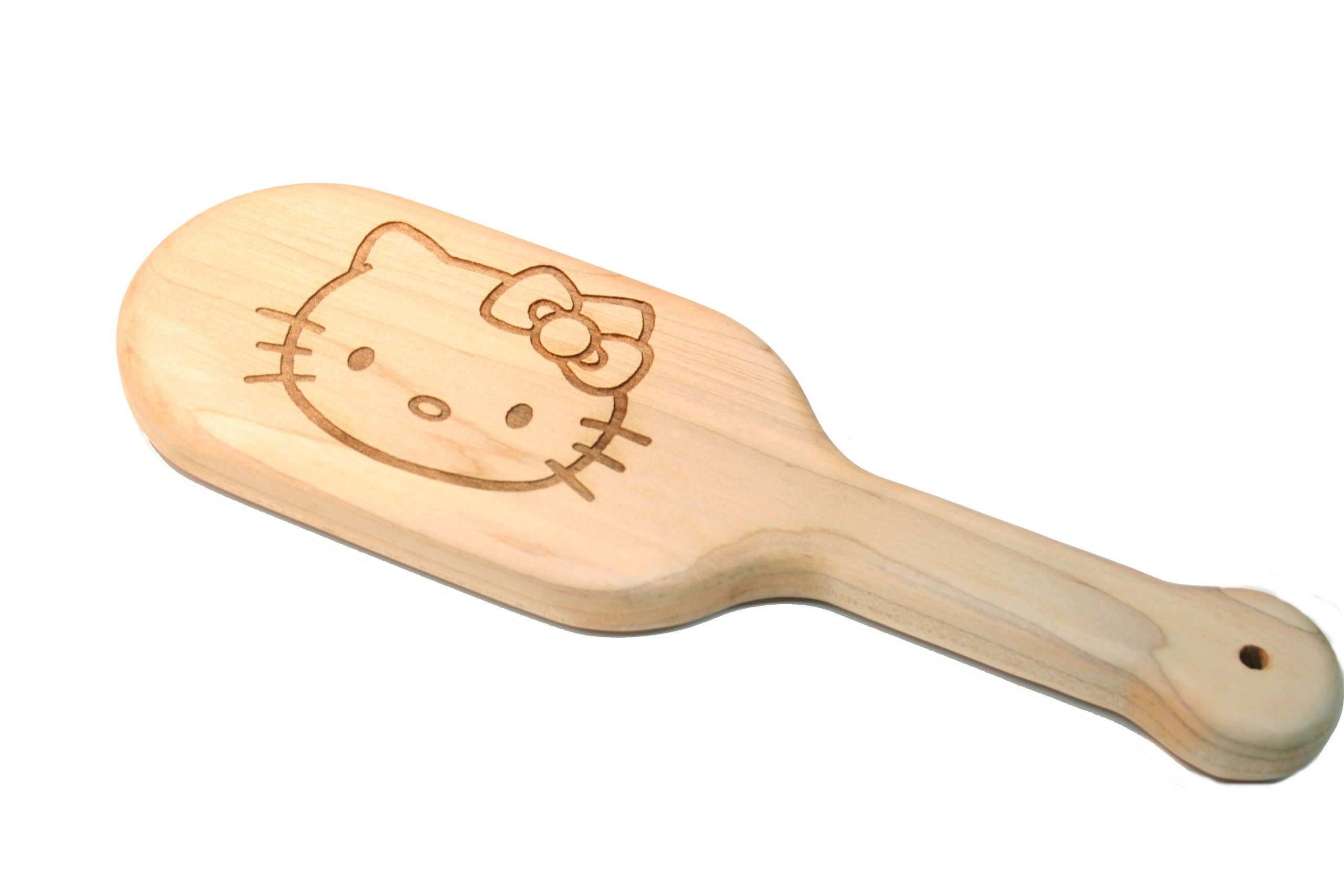 Laser Engraved Kitty BDSM Spanking Paddle in Solid Maple Fetish BDSM Sex Gear by The Kink Factory USA by The Kink Factory