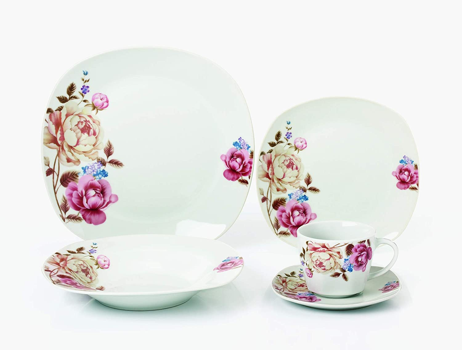 Lorren Home Trends LH428 Dinner Sets for gatherings, One Size, Pink