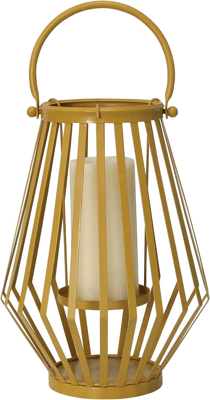 Stratton Home Décor Stratton Home Decor Yellow Metal Lantern, 9.00 X 9.00 X 12.00