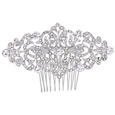 EVER FAITH® Silver-Tone CZ Austrian Crystal Art Deco Bow Bridal Hair Comb Clear N04184-1 m3Pja3O
