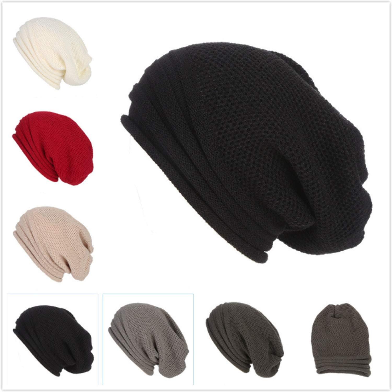 1d938122c75 MEIZOKEN Men Women Baggy Warm Crochet Winter Wool Knit Ski Beanie Skull  Slouchy Caps Hat 40 Slouchy Hats at Amazon Men s Clothing store