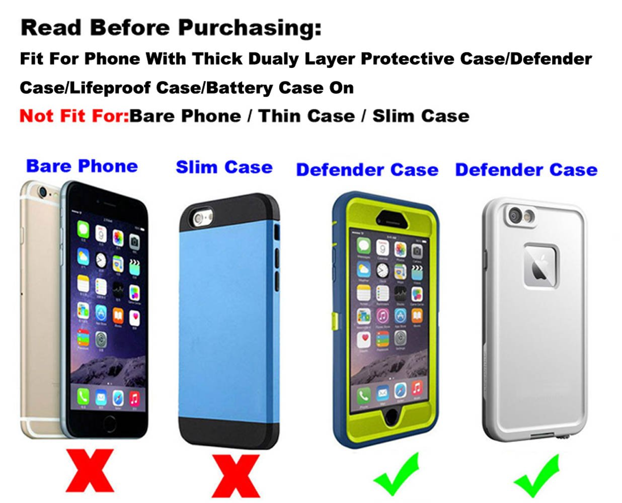 Yuzihan Holster Fit for iPhone 8 Plus 7 Plus 6 Plus Belt Holster Pouch 5.5 iPhone Xs Max Holster Fit for Phone with Thick Dual Layer Defender Case Hybrid Armor Case Battery Case On
