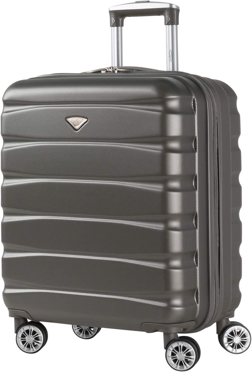 Flight Knight Lightweight ABS Hard Case 8 Wheel Carry On Hand Suitcases Exact and Maximum Size For Spirit Airlines, easyJet, British Airways Many More. – Cabin Charcoal FK02_CHAR_S