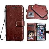"Bracevor iPhone 6 Plus/ 6s Plus 5.5""Premium Leather Detachable Inner Back Case: Wallet Stand, Flip cover - Executive Brown"