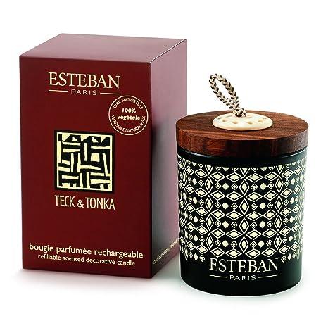 Esteban Bougie Decorative Parfumee Teck Tonka Amazon Fr Cuisine