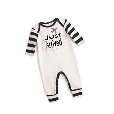 b1421928423a Tesa Babe Airplane Romper for Newborn   Baby Boys w Black Stripes  (Newborn). Roll over image to zoom in