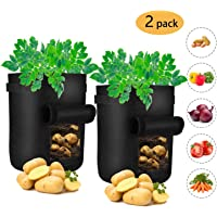 Amanda Grow Bags, 2-Pack 7 Gallon Potato Planter Bag, Double Layer Nonwoven Cloth Fabric Pots with Handles - Velcro Window Vegetable Planting Bags /Potato Peanut Growing Box/ Planting Bucket Pot for Nursery Garden