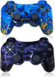 CHENGDAO PS3 Controller 2 Pack Wireless Dual Shock Gamepad for Sony Playstation 3 with Charging Cord