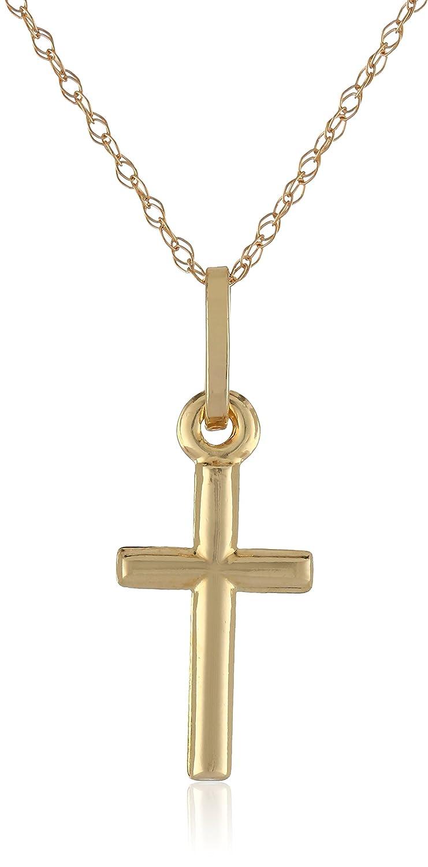 14k Yellow Gold Petite Cross Pendant Necklace, 18 18 Amazon Collection PK4012-18