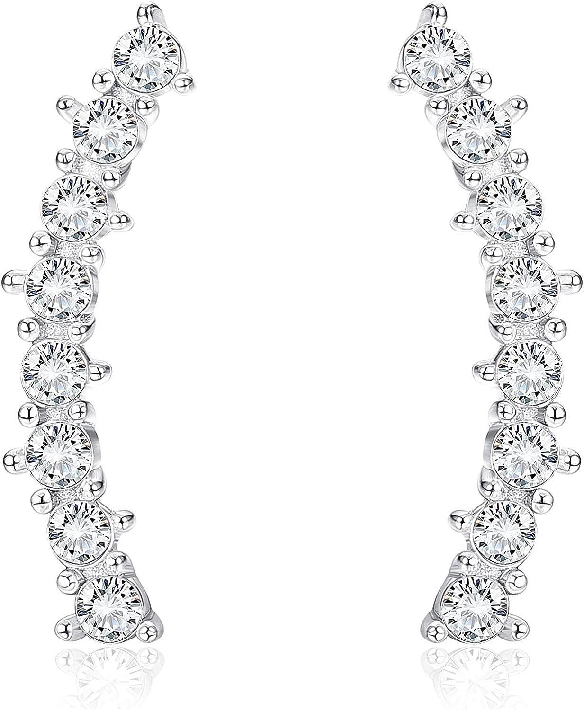 Sllaiss Pendientes trepador hechos con cristales de Swarovski de plata de ley 925 para mujer, pendientes de cartílago delicados de oruga