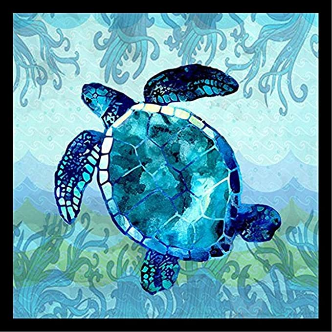 Buyartforless Framed Waves Sea Turtle By Jill Meyer 24x24 Art Print Poster Coastal Ocean Painting Colorful Blue Sea Turtle Posters Prints Amazon Com