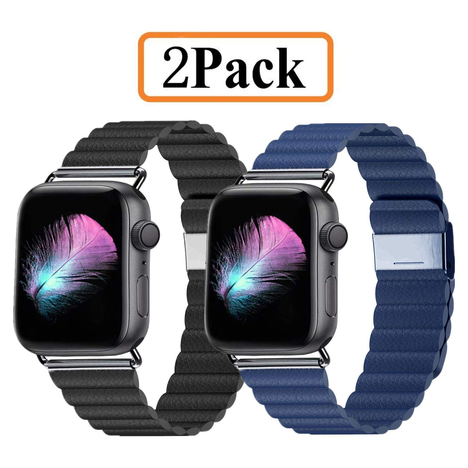 LKEITY Compatible for Apple Watch Band 44mm 42mm - Upgrade Adjustable Leather Strap with Strong Magnetic for iWatch Series 4/3/2/1 (Black/Blue 2 Pack)