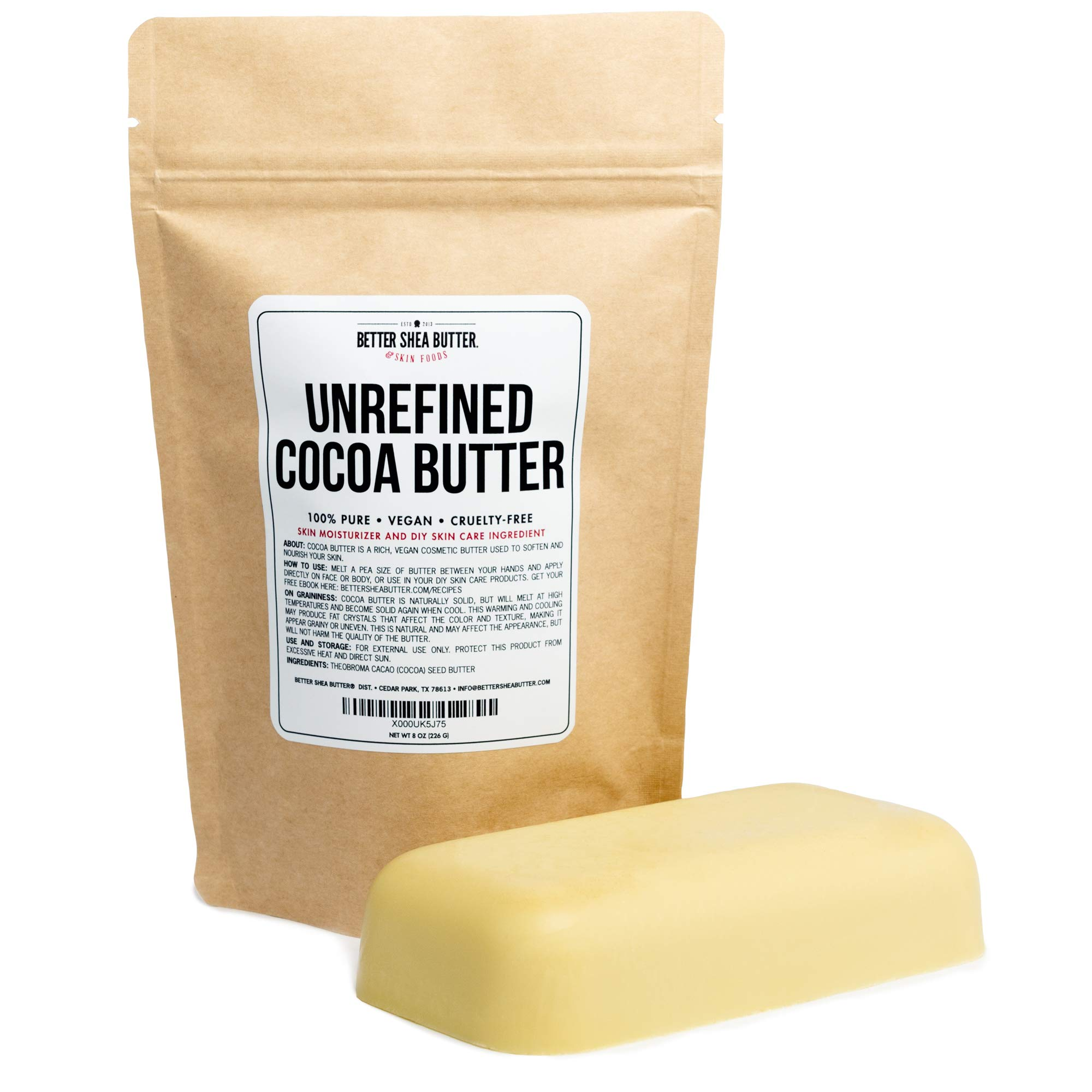 Unrefined Cocoa Butter - Use on Pregnancy Stretch Marks, Make Moisturizing Lotion, Chap Stick, Lip Balm and Body Butter - 100% Pure, Food Grade, Smells Like Chocolate - 8 oz by Better Shea Butter by Better Shea Butter