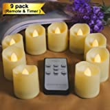 Homemory 9PCS Flameless Flickering Votive Candles, Amber Yellow Light, Battery Operated Realistic LED Tealight with Remote & Timer, Long Battery Life 150+ Hours