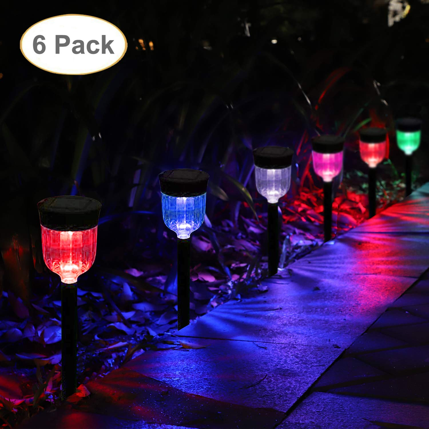 GELOO Solar Outdoor Lights 6-Pack Solar Pathway Lights Outdoor Garden Lights Outdoor Landscape Lighting for Lawn, Yard, Patio, Driveway, Walkway, 7 Colors Changing by GELOO