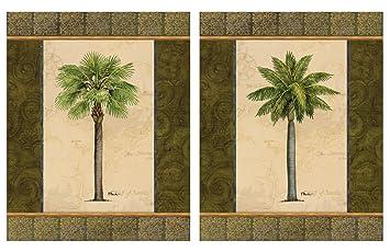 2 East Indies Palm Tree Art Prints Tropical Home Decor 8x10