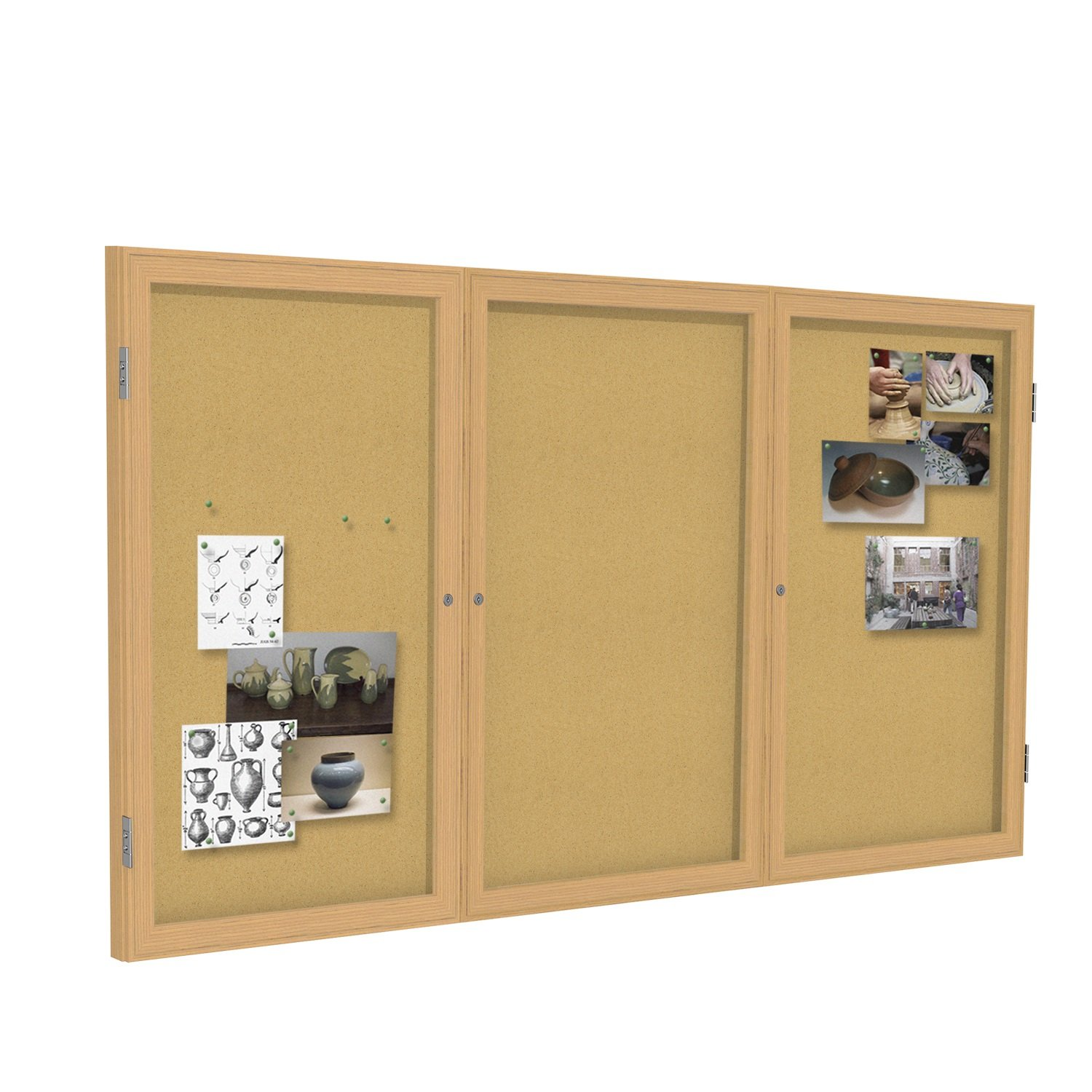 Ghent 36x24 1-Door indoor Enclosed Bulletin Board , Shatter Resistant, with Lock, Satin Aluminum Frame - Natural Cork (PA13624K) Made in the USA