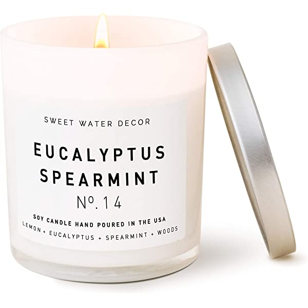Amazon Com Sweet Water Decor Eucalyptus Spearmint Candle Lemon Lavender Relaxing Scented Soy Wax Candle For Home 11oz White Glass Jar 50 Hour Burn Time Made In The Usa Handmade,Luxury 5 Bedroom House Plans Single Story 3d