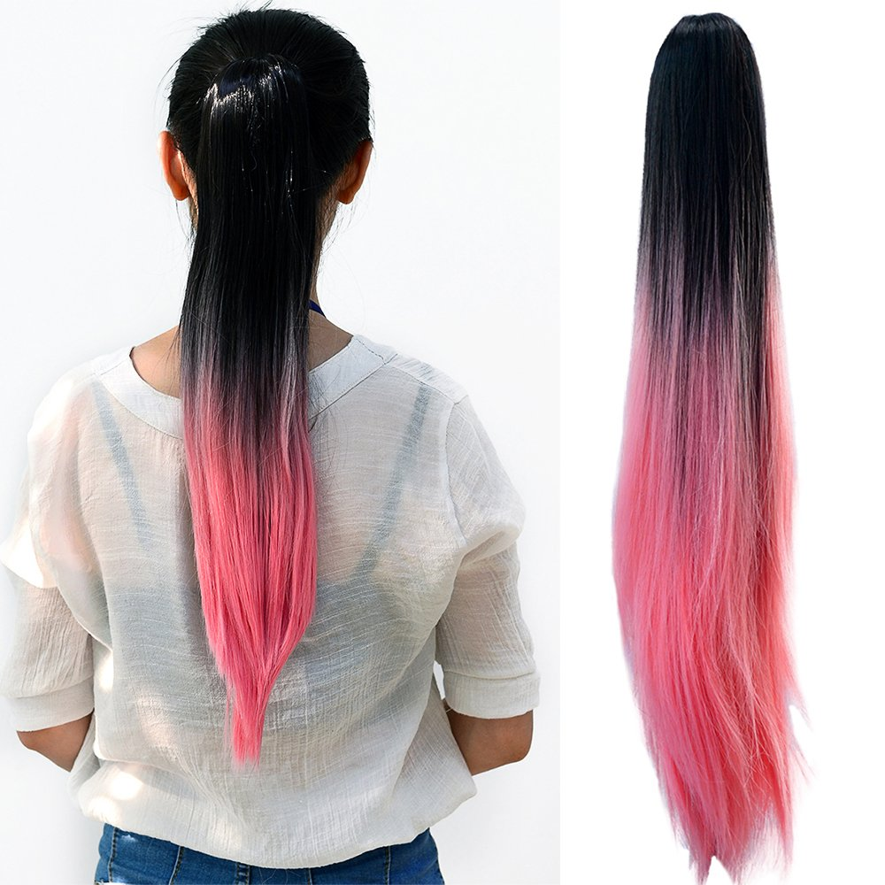 Neverland, extension per capelli, chiusura a pinza, coda di cavallo lunga liscia, doppia tonalità ombreggiata, 50 cm