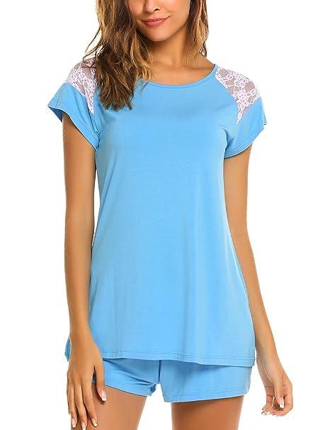 904cd9153253 ADOME Mujer Conjunto de Pijama Manga Corta Encaje y Pantalón Corto Algodón  Modal Ropa de Dormir: Amazon.es: Ropa y accesorios
