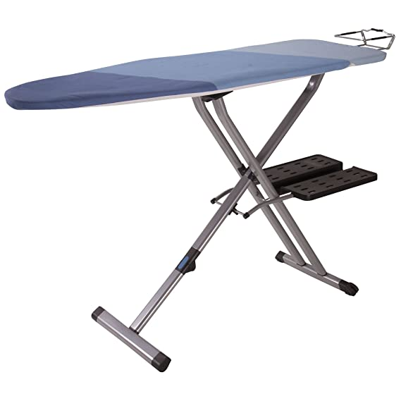 Household Essentials 975418-1 Fold Away Space Saver Wide Top Ironing Board with Iron Holder | Blue