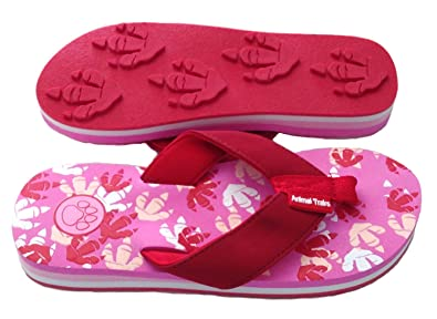 602af9cc8 Dino Red Medium Kids Paw Print Flip Flops Fun for Beach