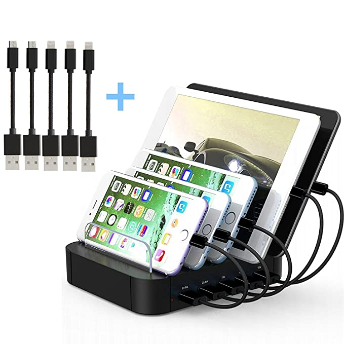 amazon com kisreal usb charging station 5 port desktop charging rh amazon com