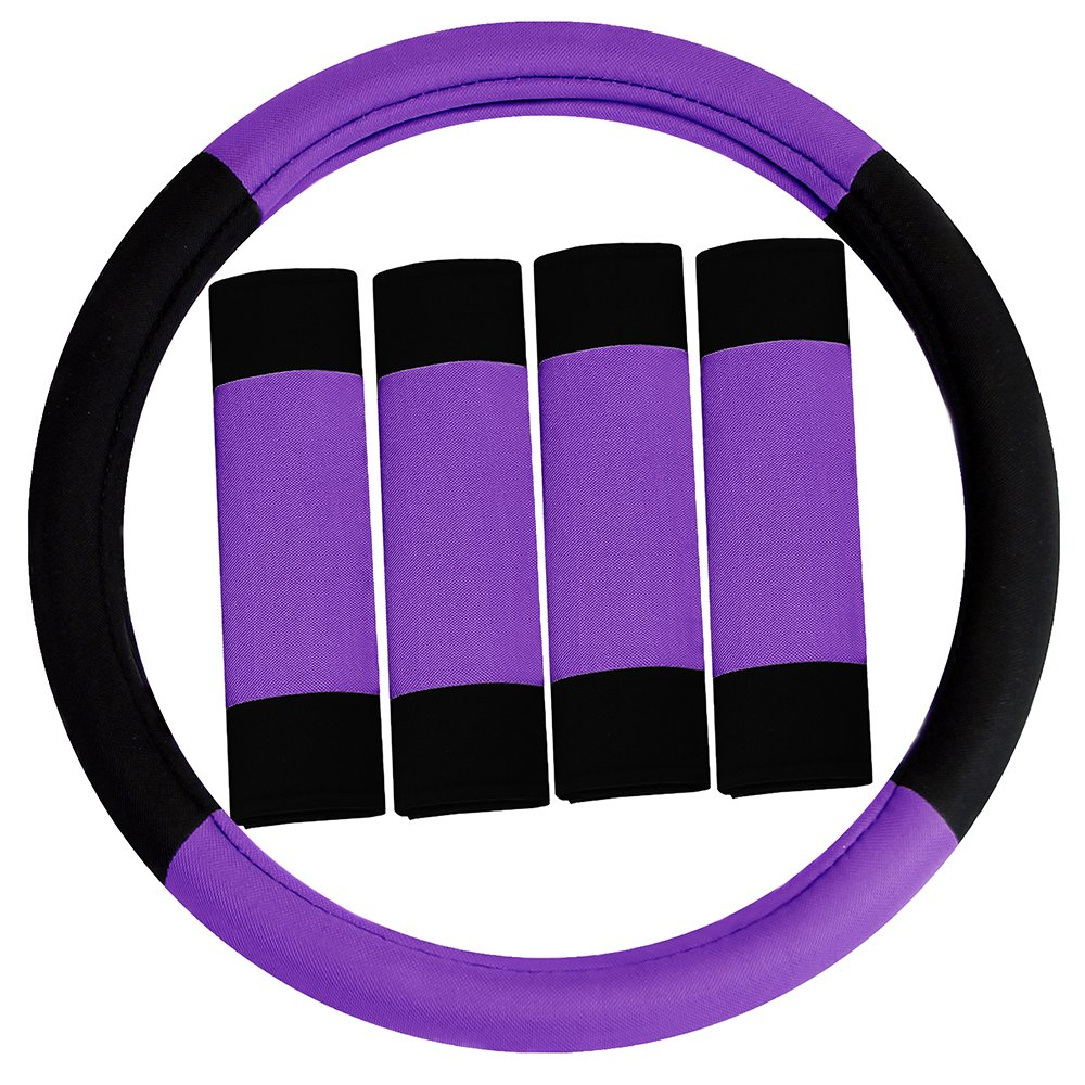 FH Group FH2033PURPLE Steering Wheel Cover (Modernistic and Seat Belt Pads Combo Set Purple)