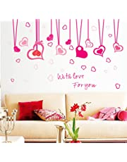 """BIBITIME Hanging Heart Decor Stikcer Valentines Day Love Wall Border Decals for Girls Room Kids Bedroom Vinyl Saying """"With Lover For You"""" Quotes Sticker"""