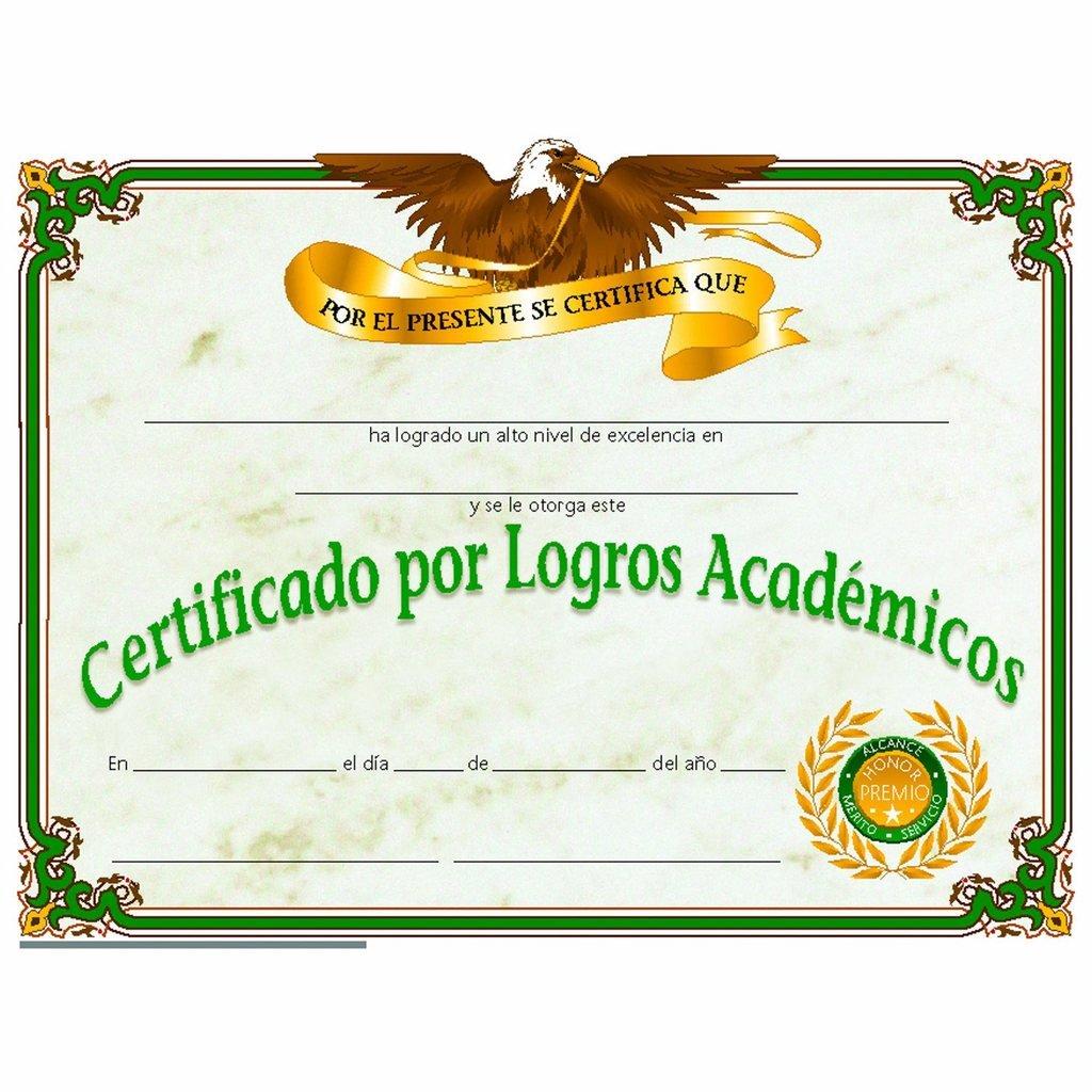 Amazon Spanish Certificate Of Achievement Glossy Paper