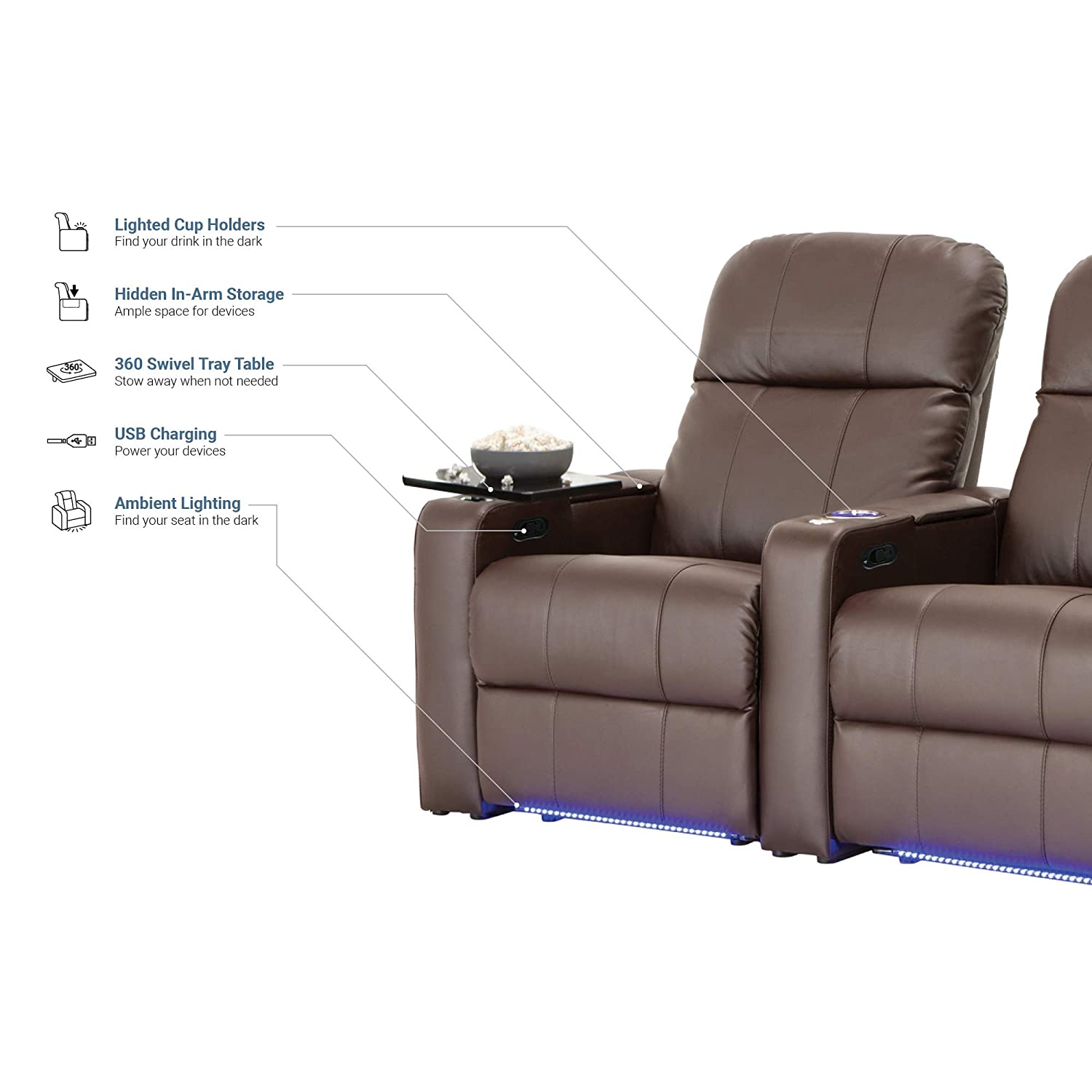 Seatcraft Venetian Home Theater Seating Manual Recline Bonded Leather with Hidden In-Arm Storage, Swivel Tray Tables, USB Charging, Lighted Cup Holders and Base, Row of 2, Brown