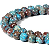BEADNOVA 8mm Crazy Blue Lace Agate Gemstone Round Loose Beads for Jewelry Making (45-48pcs)