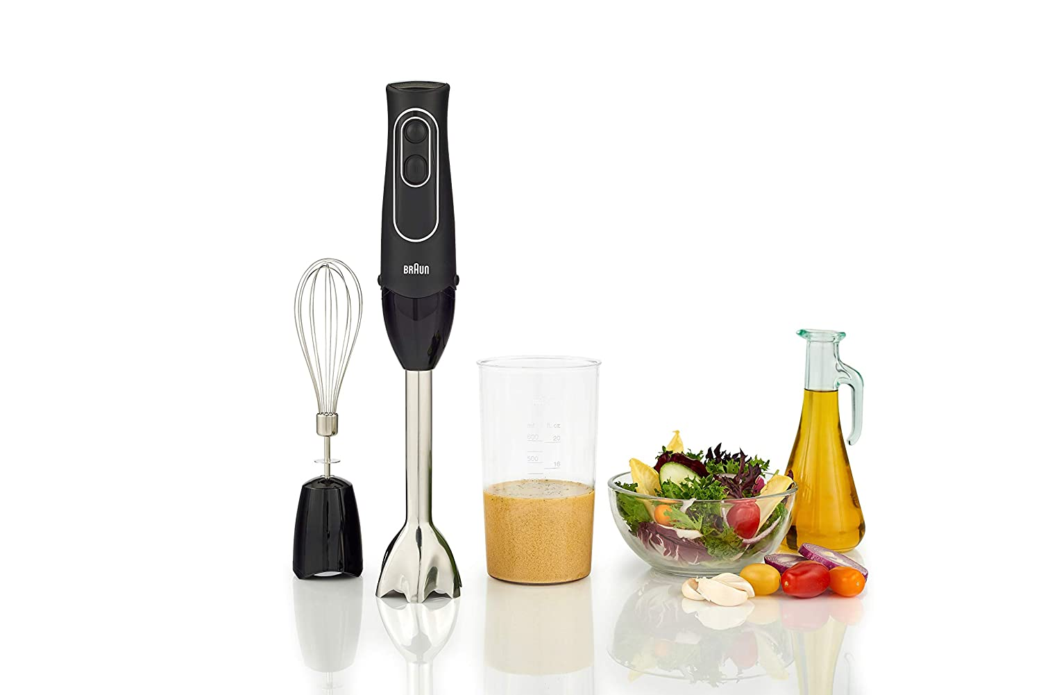 Amazon.com: Braun MQ537R MultiQuick 5 Immersion Hand Blender Patented Technology - Powerful 350 Watt - Dual Speed - Includes Beaker, Whisk, 2-Cup Chopper, ...
