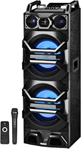 """Technical Pro Dual 10"""" Speaker Tower Floor Standing Bluetooth Speaker, Floor Speakers for Home Stereo System or Home Theater Karaoke Machine System w/USB/SD/LED+Mic"""