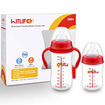 1Pc 180ml baby feeding nipple bottles infants milk water PP bottle with handles