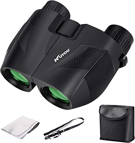 Binoculars for Adults Kids,10×25 Folding and Compact Shock Proof Binoculars for Outdoor Adventure Concerts, Hunting and Sport Games