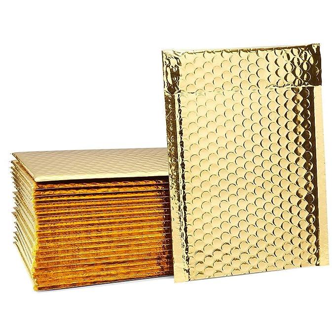 Stagnola - Lote de 100 bolsas de regalo con relleno de pétalos y cierres, 180 x 260 mm, color dorado metalizado