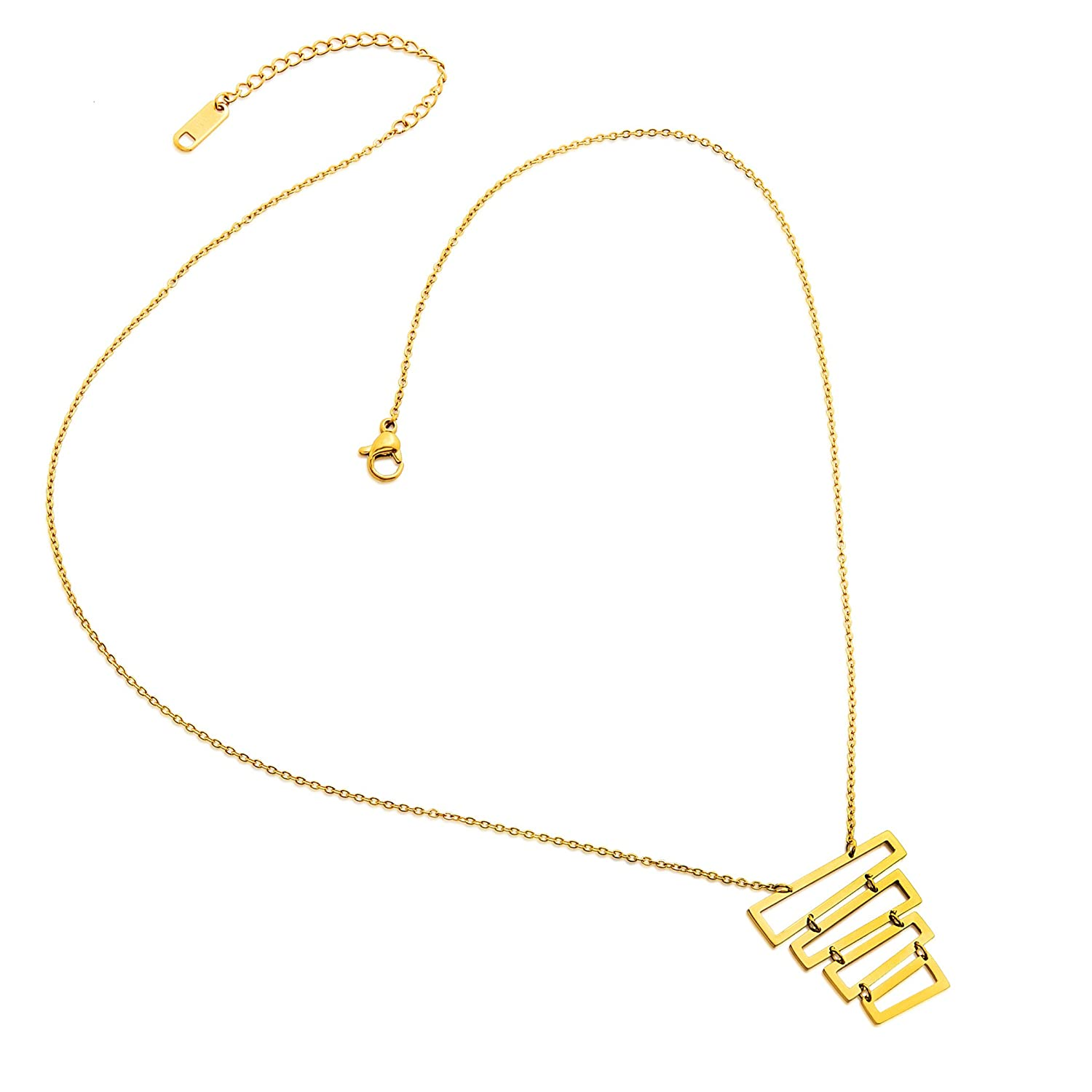 One Size ELYA Jewelry Womens Gold Plated Gold Plated Polished Rectangles Stainless Steel Pendant Necklace