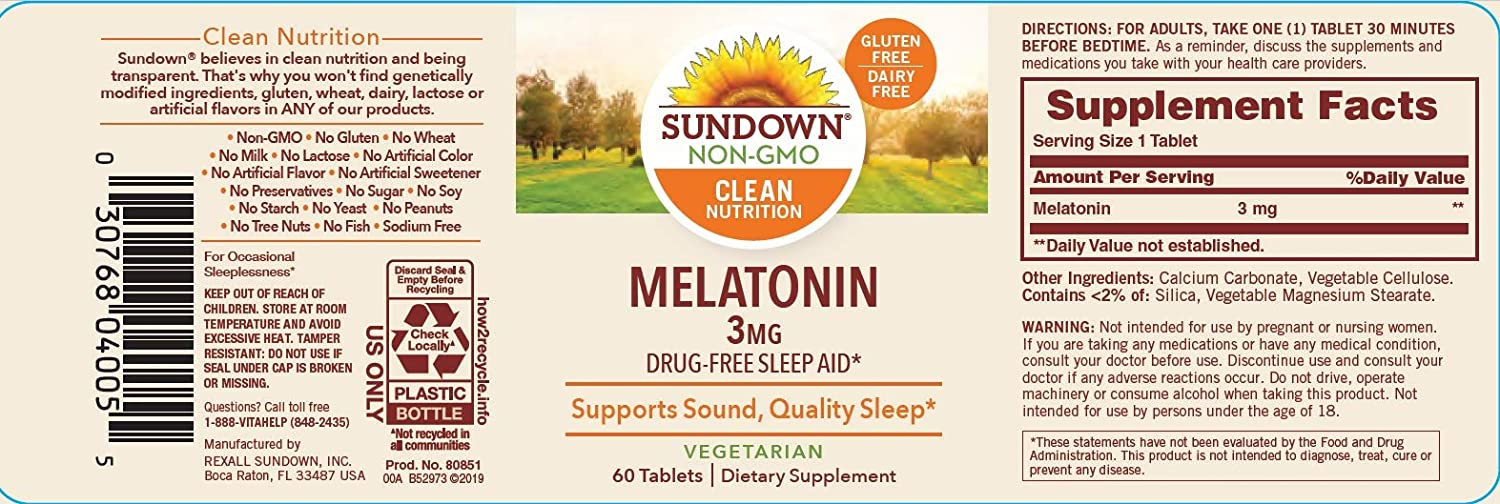 Amazon.com: Sundown Naturals melatonina, ayuda a conciliar ...