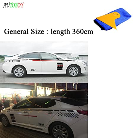 Amazon Com Aby Sports Racing Stripe Car Waistline Sticker Body Side
