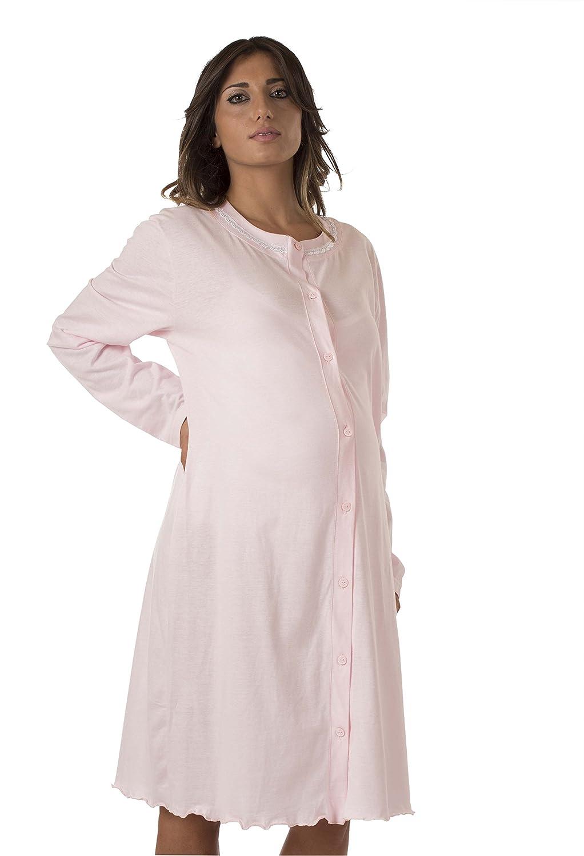 Klinisches Shirt f/ür Mutterschaft offene Front Kleid Jersey Baumwolle Premamy pr/ä-Post-Partum