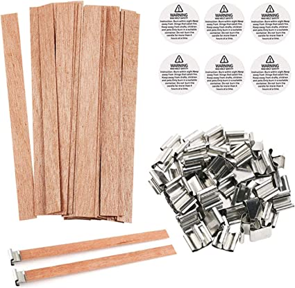 5.1 x 0.5inch 100 Pack Small Wood Candle Wicks for Making Candles Natural Wooden Thick Soy Candle Wick Smokeless Candle Warning Labels with Iron Stand for DIY Candle Making Craft