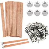 BENBO 50 Pieces Smokeless 5.1 X 0.5 Inch Natural Candle Wicks with Iron Stand Environmentally Friendly Candle Cores for DIY Candle Making Craft (Wooden)