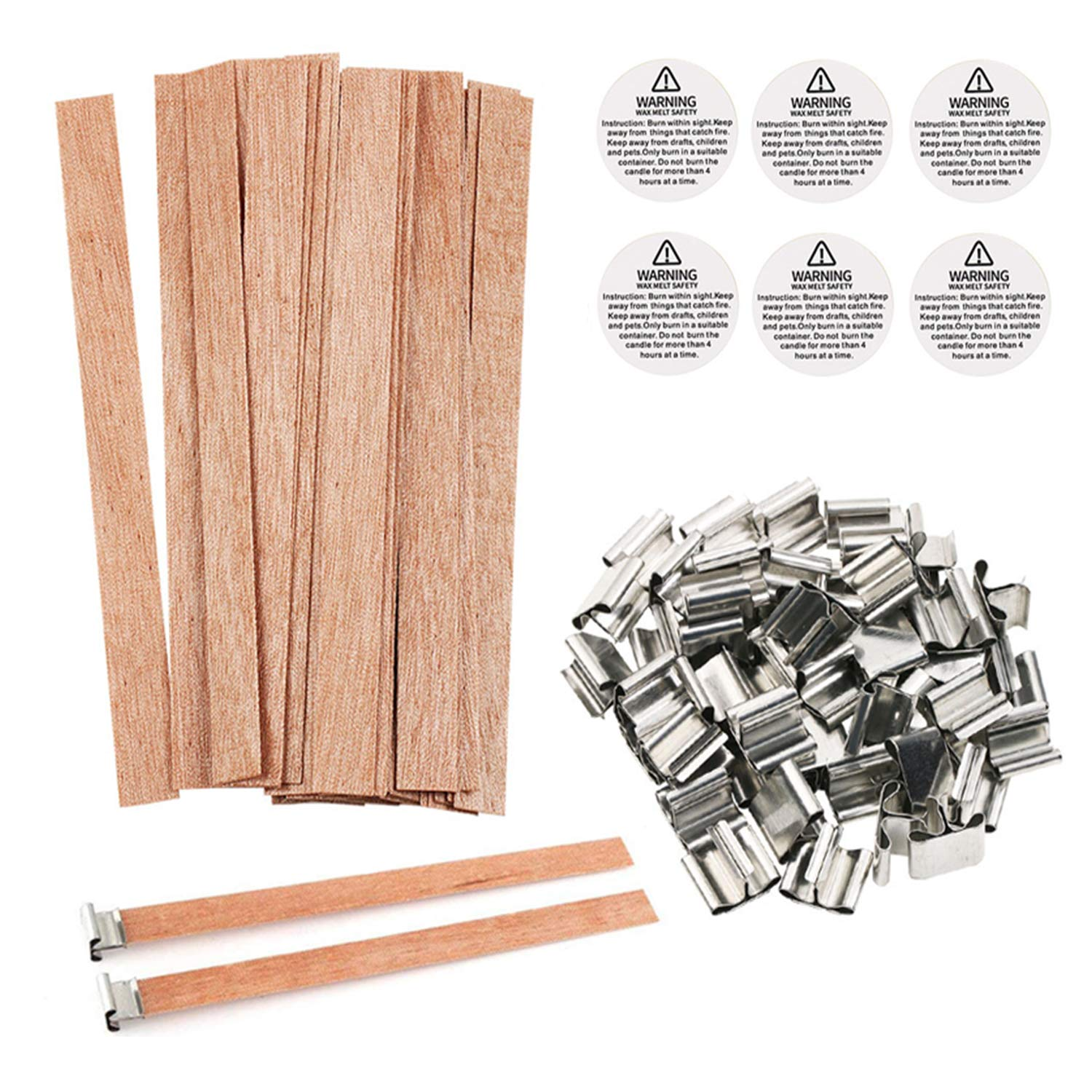 BENBO 50 Pieces Smokeless 5.1 X 0.5 Inch Natural Candle Wicks with Iron Stand Candle Cores for DIY Candle Making Craft (Wooden)